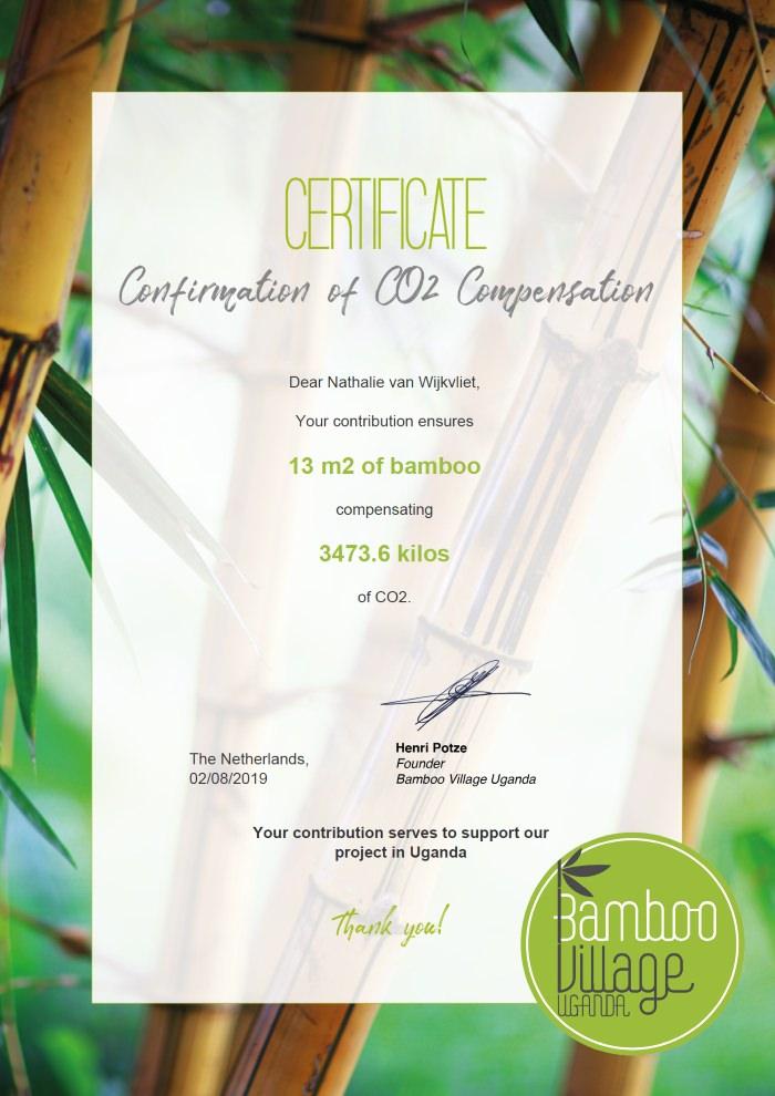 Bamboo Village Uganda certificate