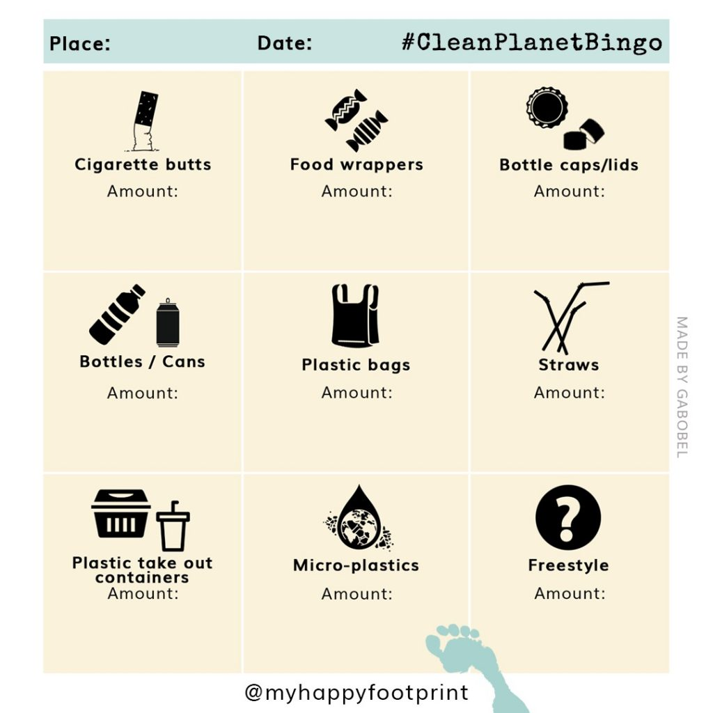 Clean Planet Bingo card - My Happy Footprint